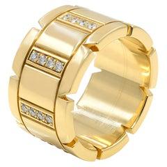 Cartier 18 Karat Yellow Gold Diamond Tank Francaise Large Band Ring