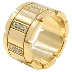 Cartier 18 Karat Yellow Gold Diamond Tank Francaise Large Band Ring