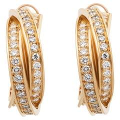 Cartier 18 Karat Yellow Gold Diamond Trinity Earrings