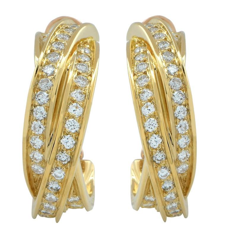 Cartier 18 Karat Yellow Gold Diamond Trinity Hoop Earrings