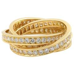 Cartier 18 Karat Yellow Gold Diamond Trinity Ring 1.55 Carat