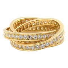 Cartier 18 Karat Yellow Gold Diamond Trinity Ring