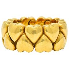 Cartier 18 Karat Yellow Gold Double Coeurs Heart Band Ring, circa 1994