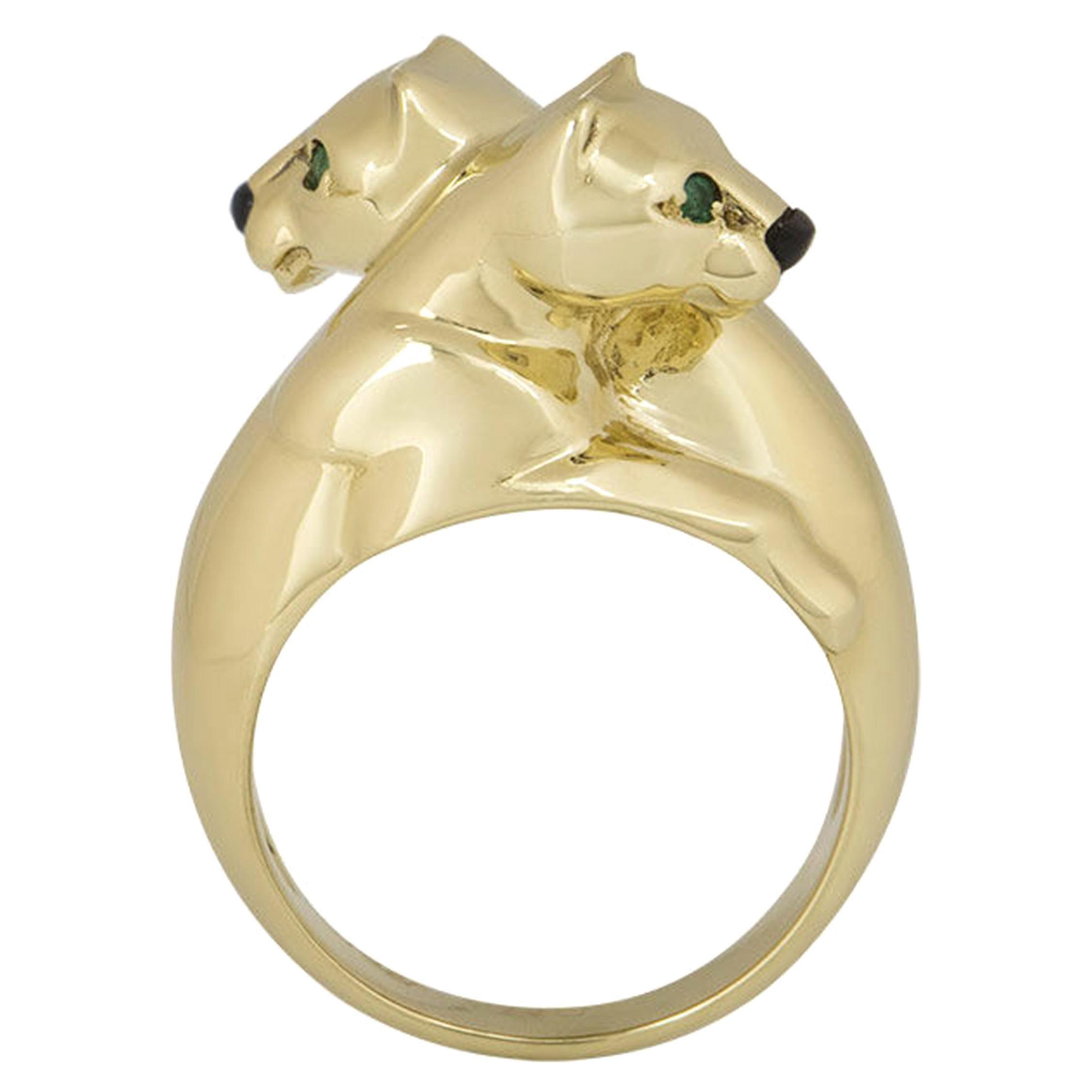 Cartier 18 Karat Yellow Gold Double Panthere De Cartier Ring
