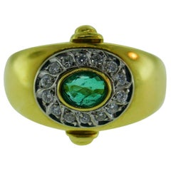 Cartier 18 Karat Yellow Gold, Emerald and Diamond Ring Vintage, circa 1970s