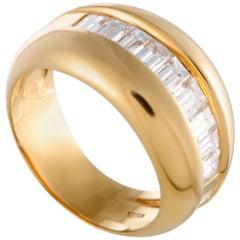 Cartier 18 Karat Yellow Gold Emerald Cut Diamonds Band Ring