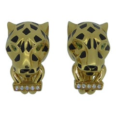 Cartier 18 Karat Yellow Gold, Enamel and Diamond Panthere Ear Clip Earrings