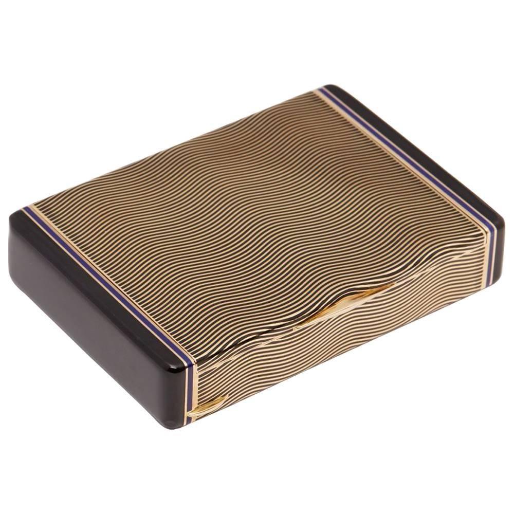 Cartier 18 Karat Yellow Gold Enamel Art Deco Vanity Case