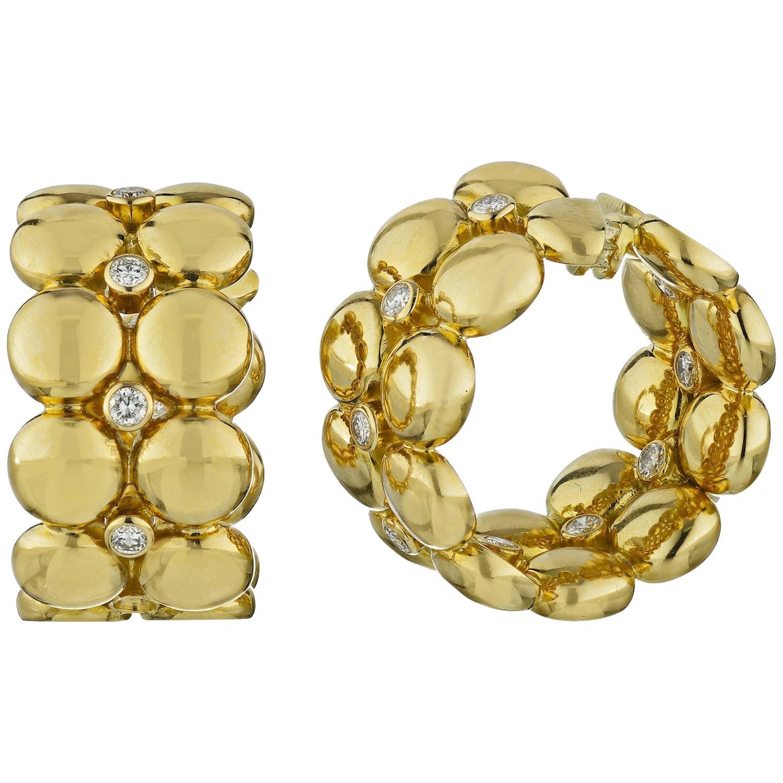 Cartier 18 Karat Yellow Gold Estate Bubbles Diamond Clip-On Earrings
