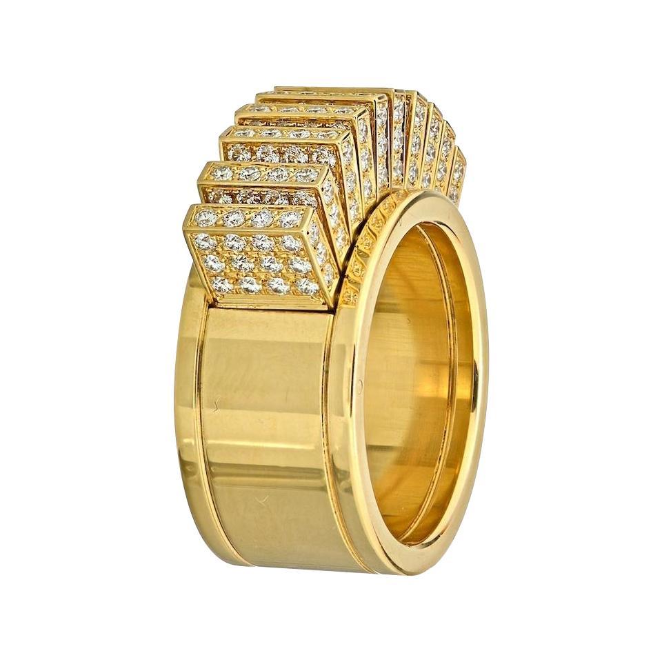 Cartier 18 Karat Yellow Gold Fan Band Cocktail Ring
