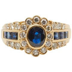 Cartier 18 Karat Yellow Gold GIA Certified Oval Sapphire Diamond Vintage Ring
