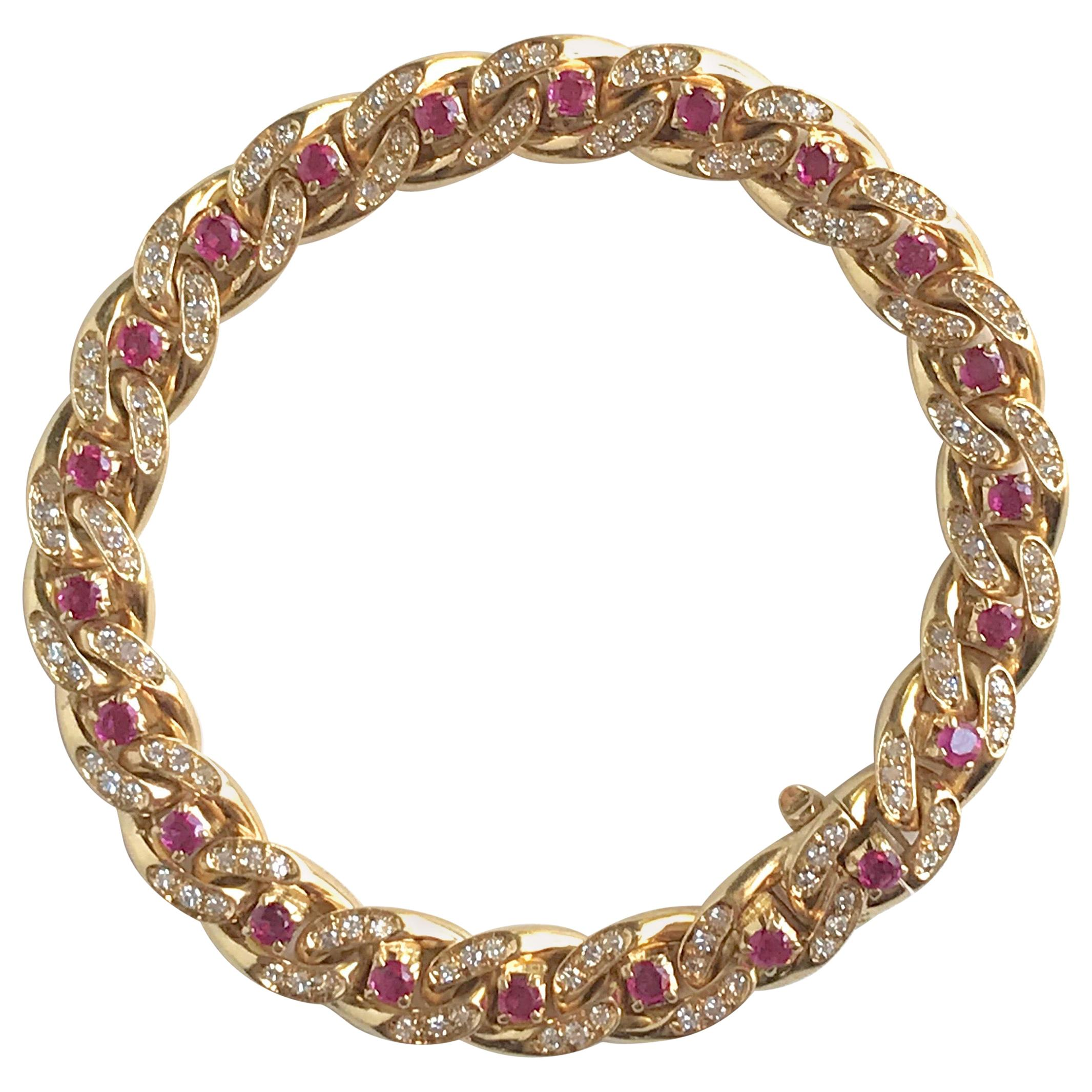 Cartier 18 Karat Yellow Gold Gourmet Link Bracelet, 22 Rubies, 132 Diamonds