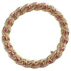 Cartier 18 Karat Yellow Gold Gourmet Link Bracelet, 22 Rubies, 132 Diamonds