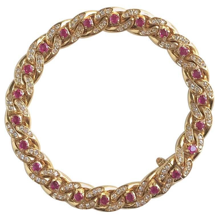 Cartier 18 Karat Yellow Gold Gourmet Link Bracelet, 22 Rubies, 132 Diamonds For Sale