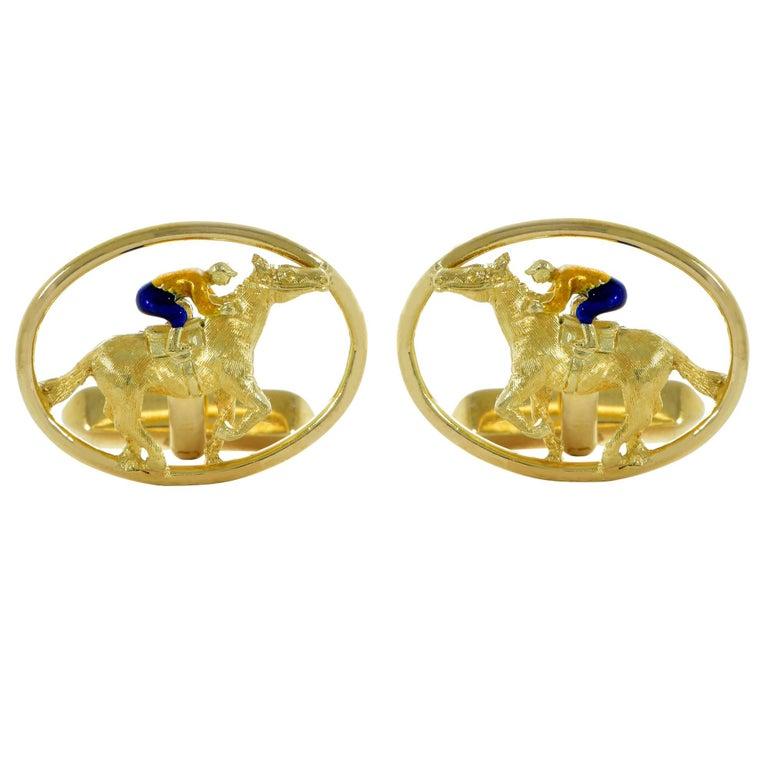Cartier 18 Karat Yellow Gold Horse and Jockey Cufflinks