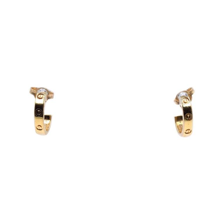 Cartier 18 Karat Yellow Gold Huggie Hoop Earrings