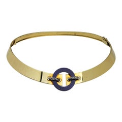 Cartier 18 Karat Yellow Gold & Lapis Lazuli Collar Necklace