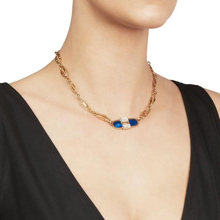 Cartier 18 Karat Yellow Gold Lapis Lazuli & Diamond Vintage Necklace  For Sale 3