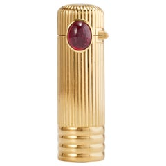 Cartier 18 Karat Yellow Gold Lipstick Container with Ruby
