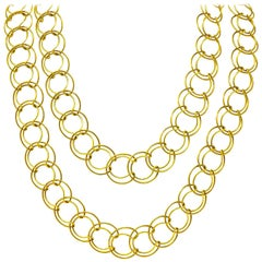 Cartier 18 Karat Yellow Gold Long Wire Link Chain Necklace
