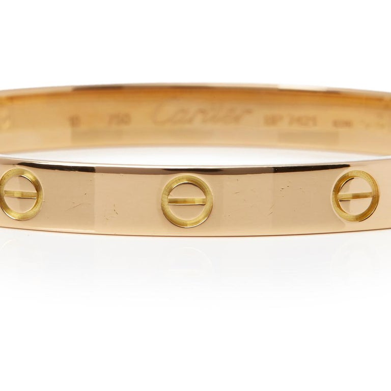 Women's or Men's Cartier 18 Karat Yellow Gold Love Bangle For Sale