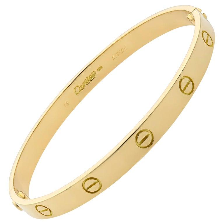 Cartier 18 Karat Yellow Gold Love Bracelet Old Style For Sale