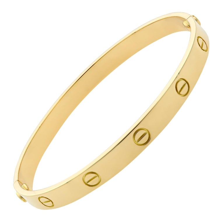 Cartier 18 Karat Yellow Gold Love Bracelet Old Style For Sale