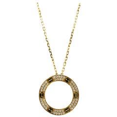 Cartier 18 Karat Yellow Gold Love Necklace, Diamond-Paved