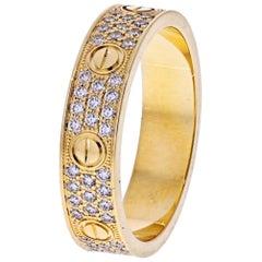Cartier 18 Karat Yellow Gold Love Pavé Diamond Ring