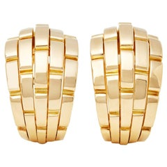 Cartier 18 Karat Yellow Gold Maillon Panthère Earrings