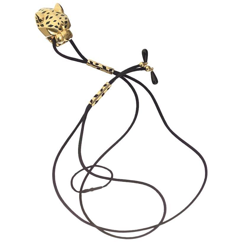 Cartier 18 Karat Yellow Gold Panthère De Pendant on a Silk String Necklace