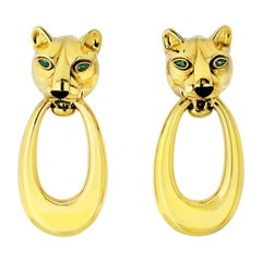 Cartier 18 Karat Yellow Gold Panthere Door Knocker Earrings