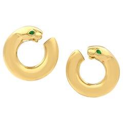 Cartier 18 Karat Yellow Gold Panthere Emerald Eyes Hoop Earrings