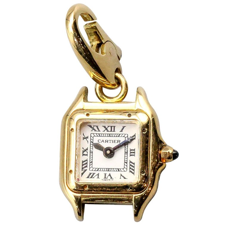 Cartier 18 Karat Yellow Gold Panthere Watch Charm For Sale