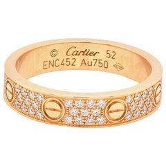 Cartier 18 Karat Yellow Gold Pave Diamond Love Ring