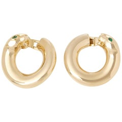 Cartier 18 Karat Yellow Gold Pear Cut Emerald Hoop Panthère Earrings