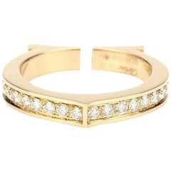 Cartier 18 Karat Yellow Gold Ring with Diamonds