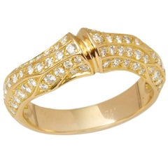 Cartier 18 Karat Yellow Gold Round Brilliant Cut Diamond Bamboo Ring