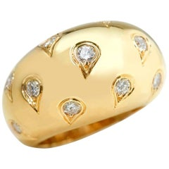 Cartier 18 Karat Yellow Gold Round Brilliant Cut Diamond Bombe Ring