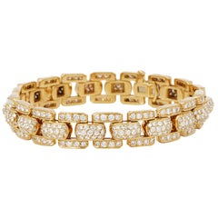 Cartier 18 Karat Yellow Gold Round Cut Diamond Link Bracelet