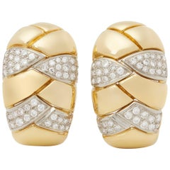 Cartier 18 Karat Yellow Gold Round Cut Diamond Vintage Earrings