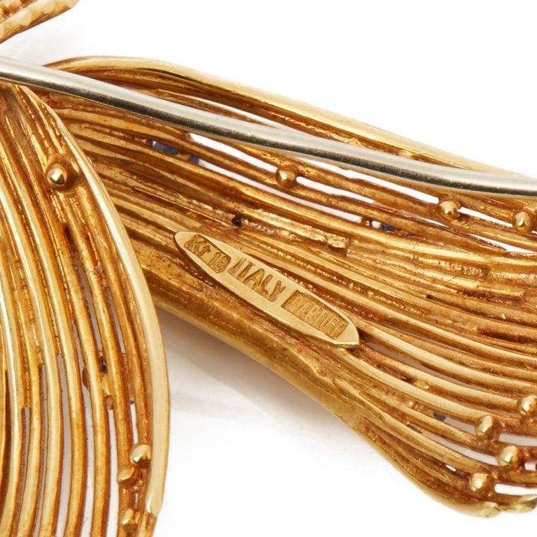 Cartier 18 Karat Yellow Gold Round Cut Sapphire Spray Vintage Ribbon Brooch 4