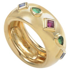 Cartier 18 Karat Yellow Gold Ruby, Emerald and Sapphire Band Ring