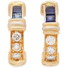 Cartier 18 Karat Yellow Gold Sapphire and Diamond Half Hoop Earrings