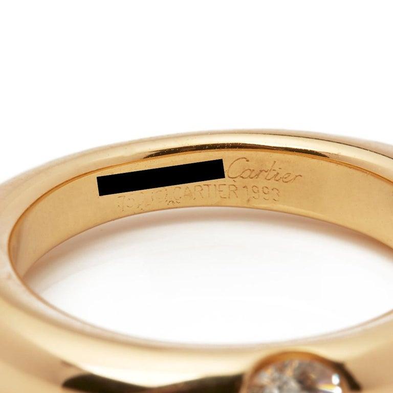 Cartier 18 Karat Yellow Gold Solitaire 0.25 Carat Solitaire Diamond Ellipse Ring 3