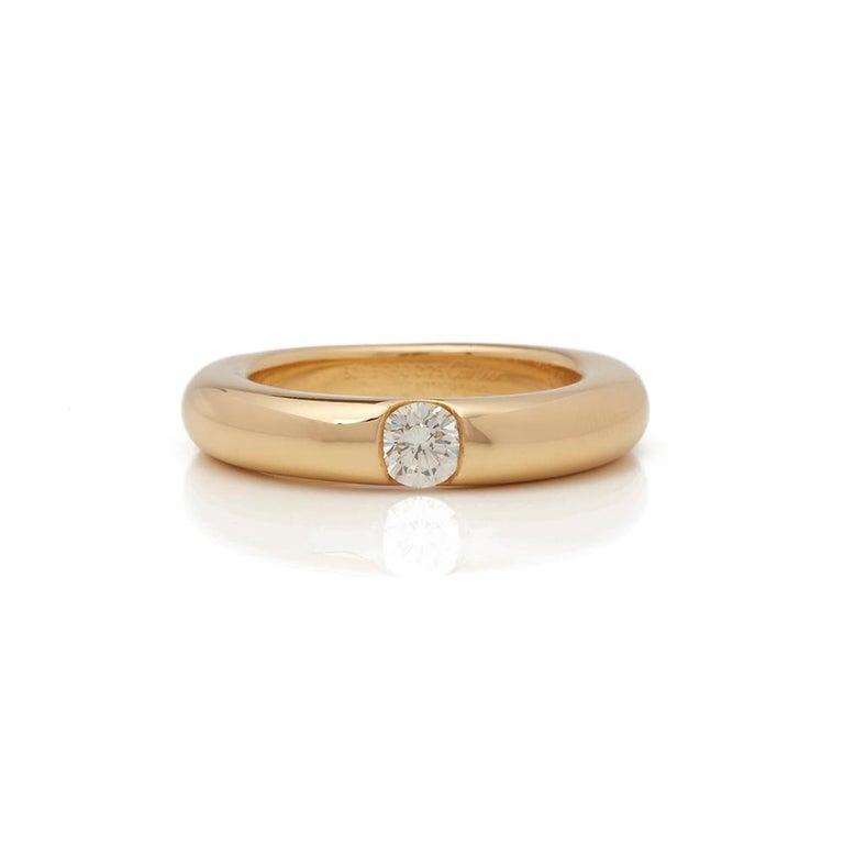 Cartier 18 Karat Yellow Gold Solitaire 0.25 Carat Solitaire Diamond Ellipse Ring In Excellent Condition In Bishop's Stortford, Hertfordshire