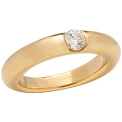 Cartier 18 Karat Yellow Gold Solitaire 0.25 Carat Solitaire Diamond Ellipse Ring