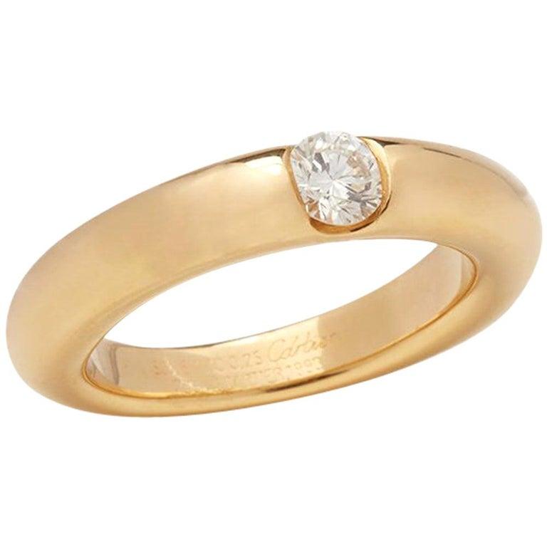 Cartier 18 Karat Yellow Gold Solitaire 0.25 Carat Solitaire Diamond Ellipse Ring