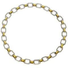Cartier 18 Karat Yellow Gold Stainless Steel Santos Combination Chain Bracelet