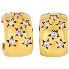Cartier 18 Karat Yellow Gold Star Diamond Earrings